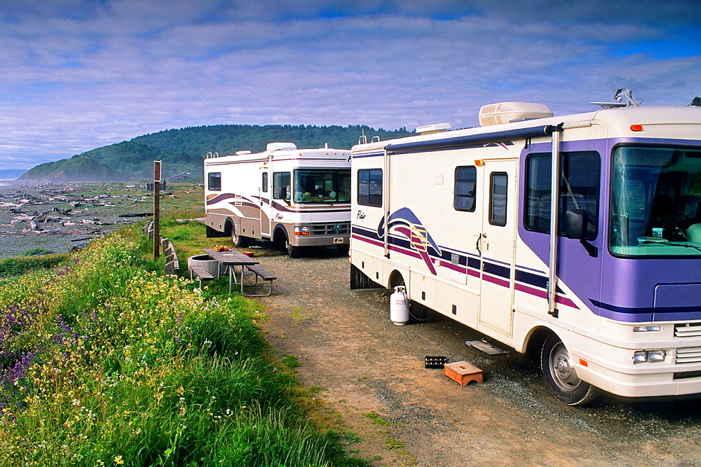 Motorhome camped at beach, Redwood National Park, near Orick, Humboldt County, CALIFORNIA.