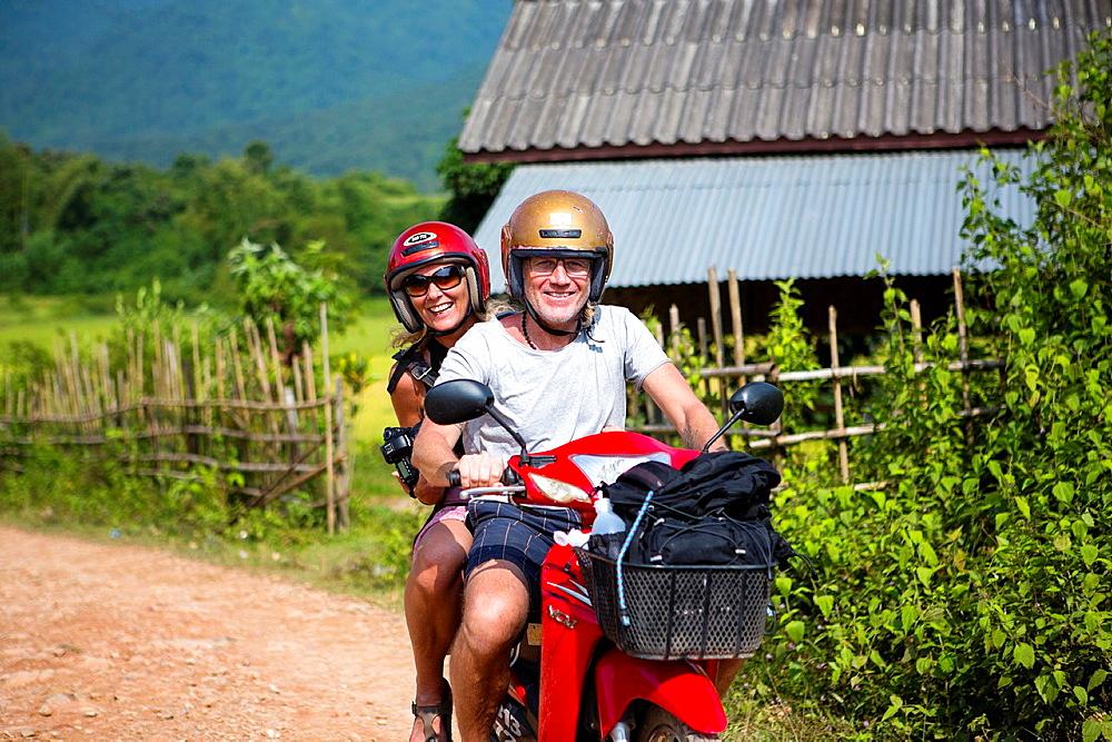 Motorbike rental in Vang Vieng, Laos.