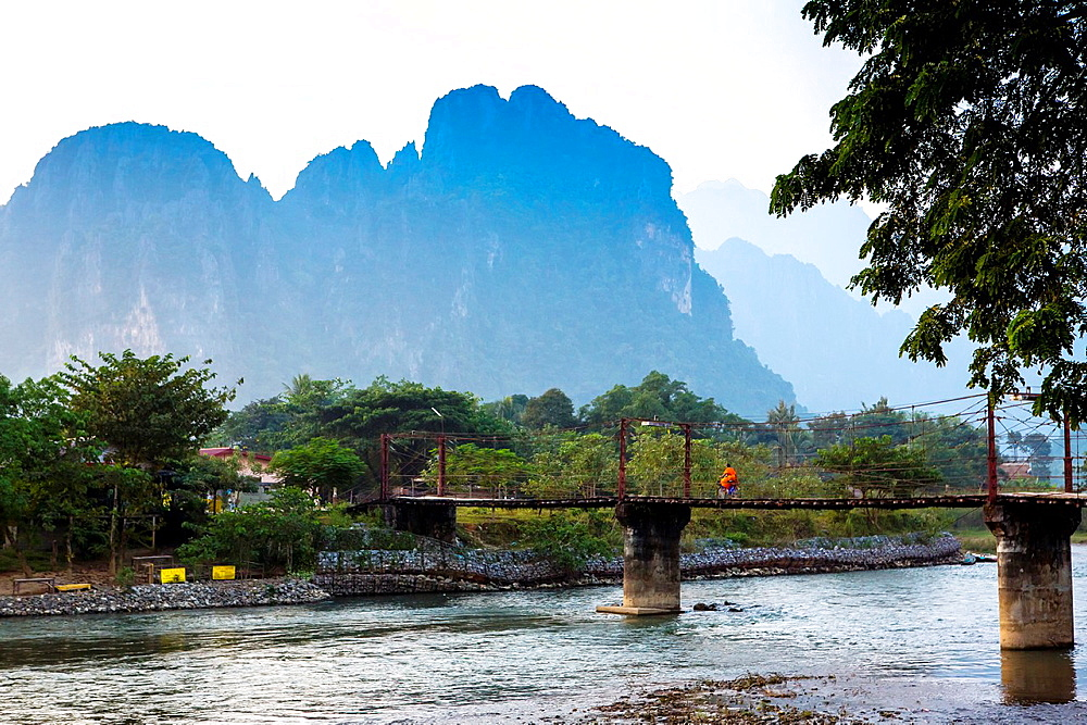 Sunset over the Nam Song River in Vang Vieng, Laos.