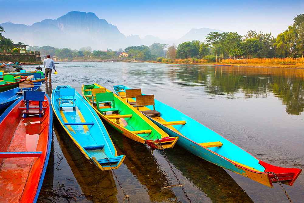 Dawn over the Nam Song River in Vang Vieng, Laos.