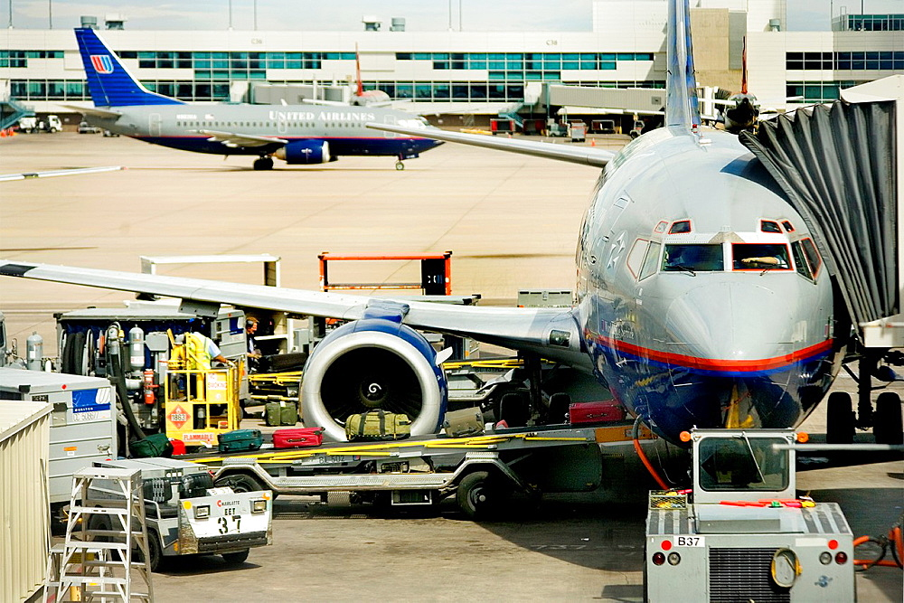 Airliner loaded and fueled at gate-Denver International Airport.