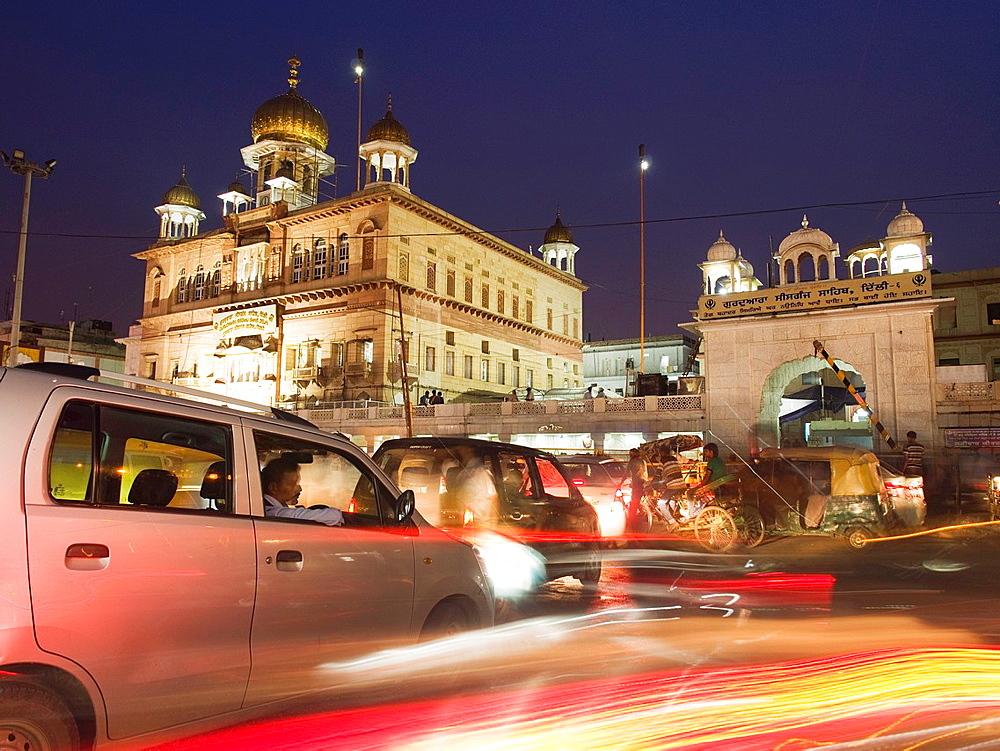 A Sheesh Gunj Gurudwara at twilight in the Chandni Chowk area of Delhi, India.