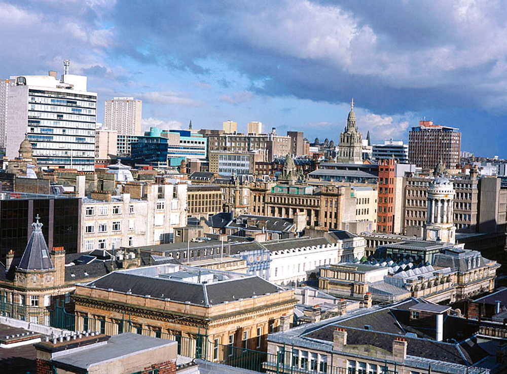 View east on Glasgow city centre skyline. Scotland. UK.