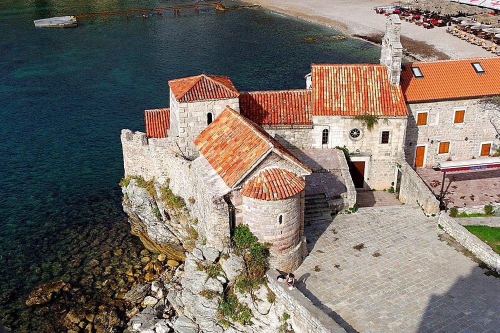 Budva,old town peninsula,Church of Santa Maria in Punta,Church of St Saava,Adriatic coast,Montenegro