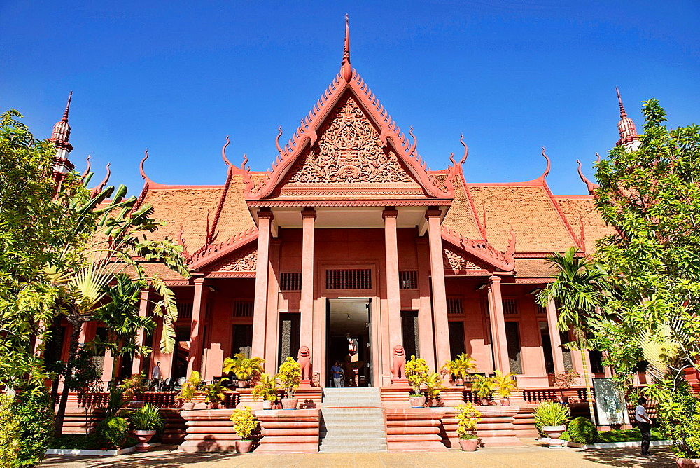 traditional Khmer architecture at the National Museum, Phnom Penh, Cambodia.