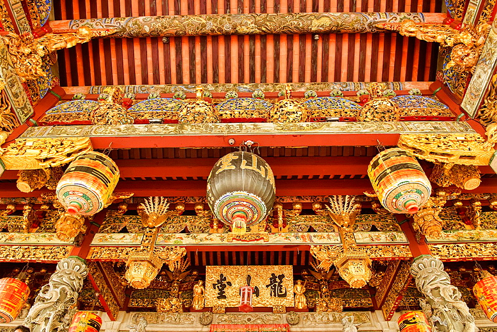 interior of Khoo Kongsi Temple in the UNESCO World Heritage zone of Georgetown in Penang, Malaysia.