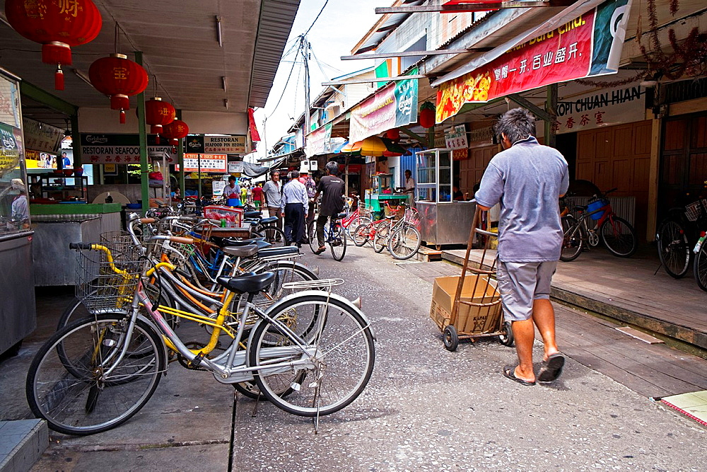 Shop houses at Kampung Pulau Ketam Crab Island fishing village, Malaysia.