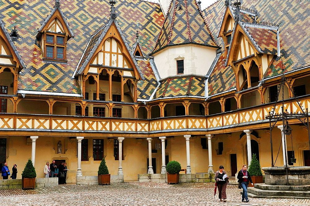 France, Burgundy, Bourgogne Beaune. Hospices de Beaune Hotel Dieu. This hospital was built in 1443 by Nicolas Rolin, Chancellor of the Duke of Burgundy, Philip the Good.