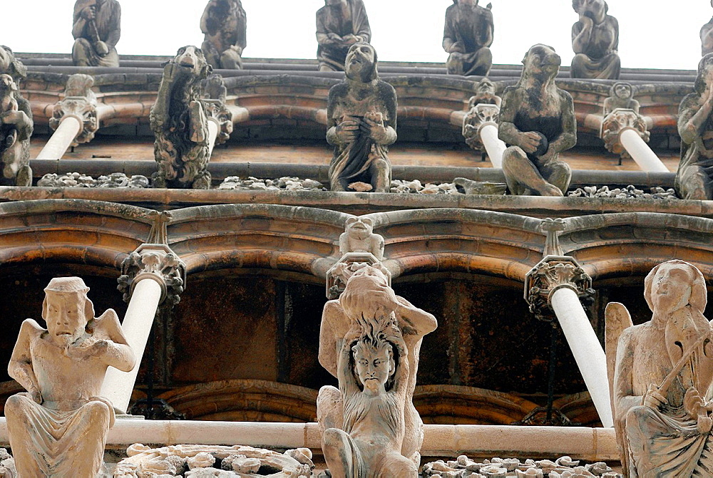 Architectural detail on the 13th century Church of Notre Dame, Dijon, Cote d¥Or, Burgundy, France