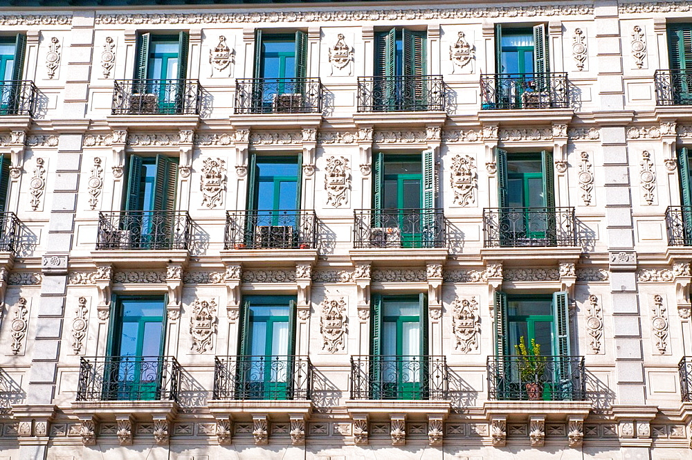 Facade of house. Velazquez street, Madrid, Spain.