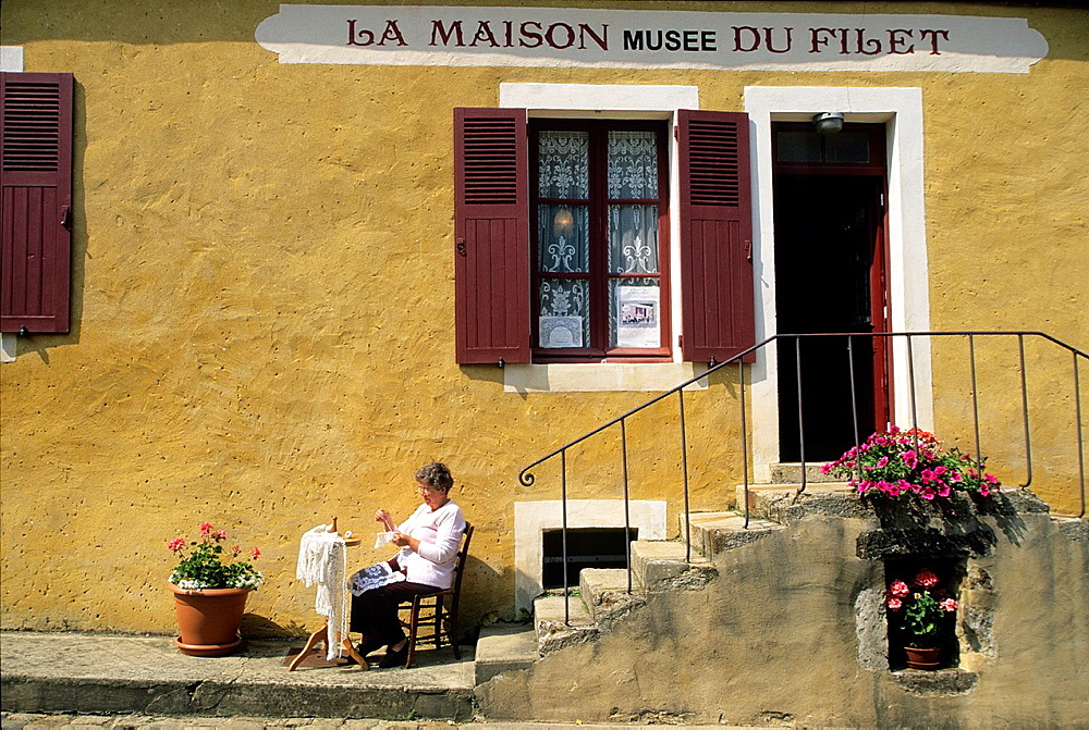 Maison du Filet, embroidery Museum, La Perriere village, Regional Natural Park of Perche, Orne department, Lower Normandy region, France, Western Europe.