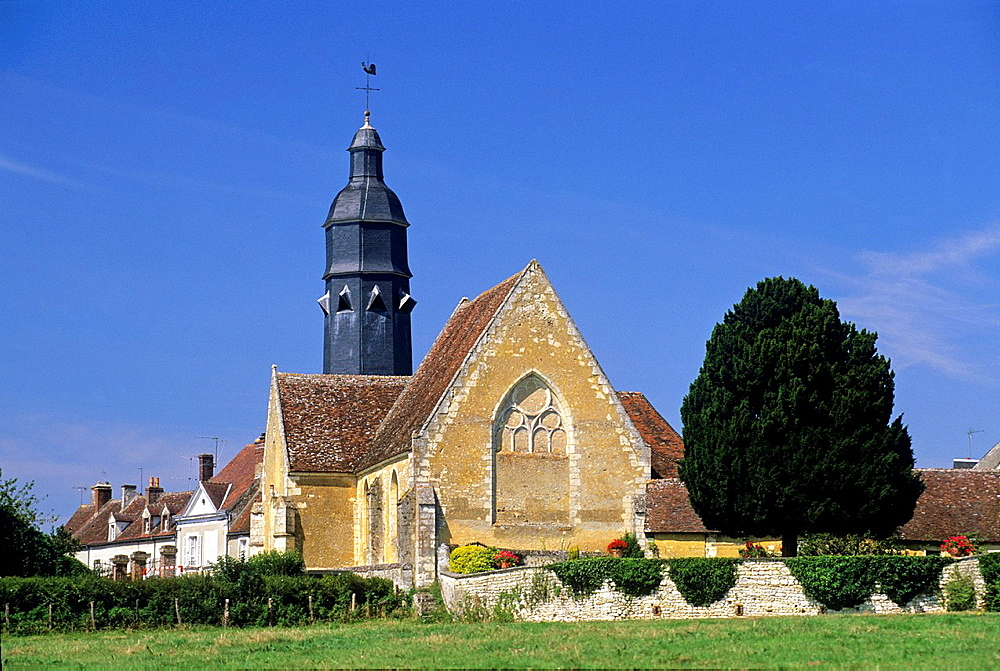 Church of Saint-Cyr-et-Sainte-Julitte at Saint-Cyr-la-Rosiere, Regional Natural Park of Perche, Orne department, Lower Normandy region, France, Western Europe.