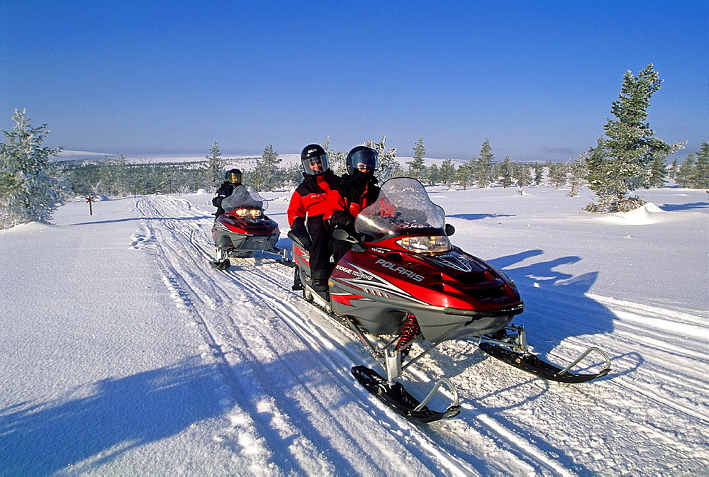 snowmobile trip around Muonio, Lapland, Finland, Northern Europe.