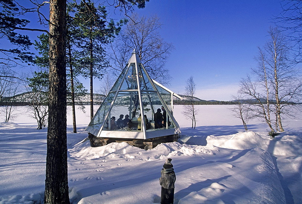 modern Helmi glass kota Lapp tepee, Design House Idoli by the Inari lake, Lapland, Finland, Northern Europe.