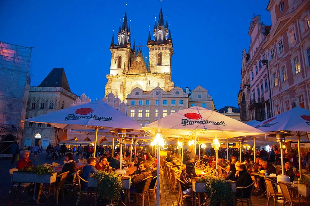 Staromestske namesti the old town square Prague Czech Republic Europe.