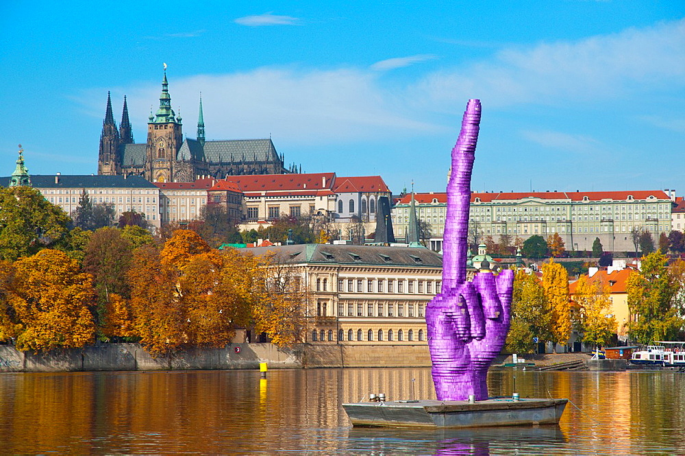 David Cerny's sculpture middle finger pointing at the castle which is the presidential and government office of the country ahead of late October 2013 elections Prague Czech Republic Europe.