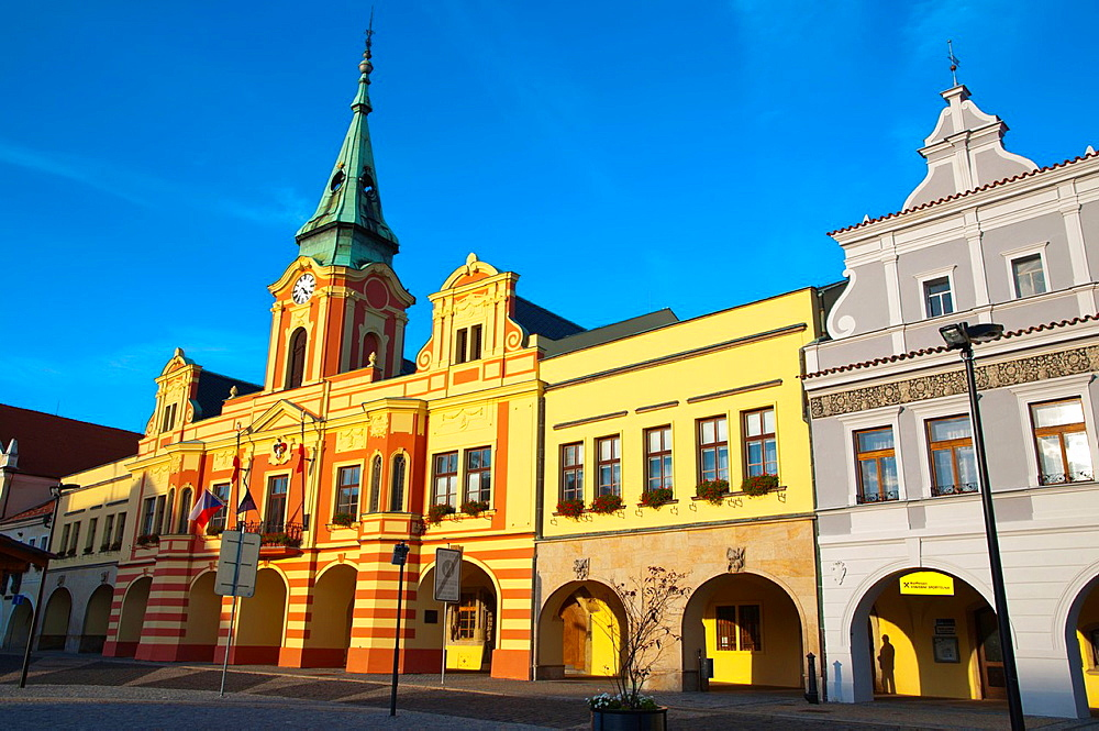 Namesti Miru main square old town Melnik central Bohemia region Czech Republic Europe.