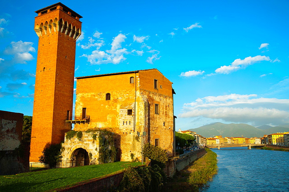 Fortezza Vecchia the old fortress by the River Arno central Pisa city Tuscany region Italy Europe.