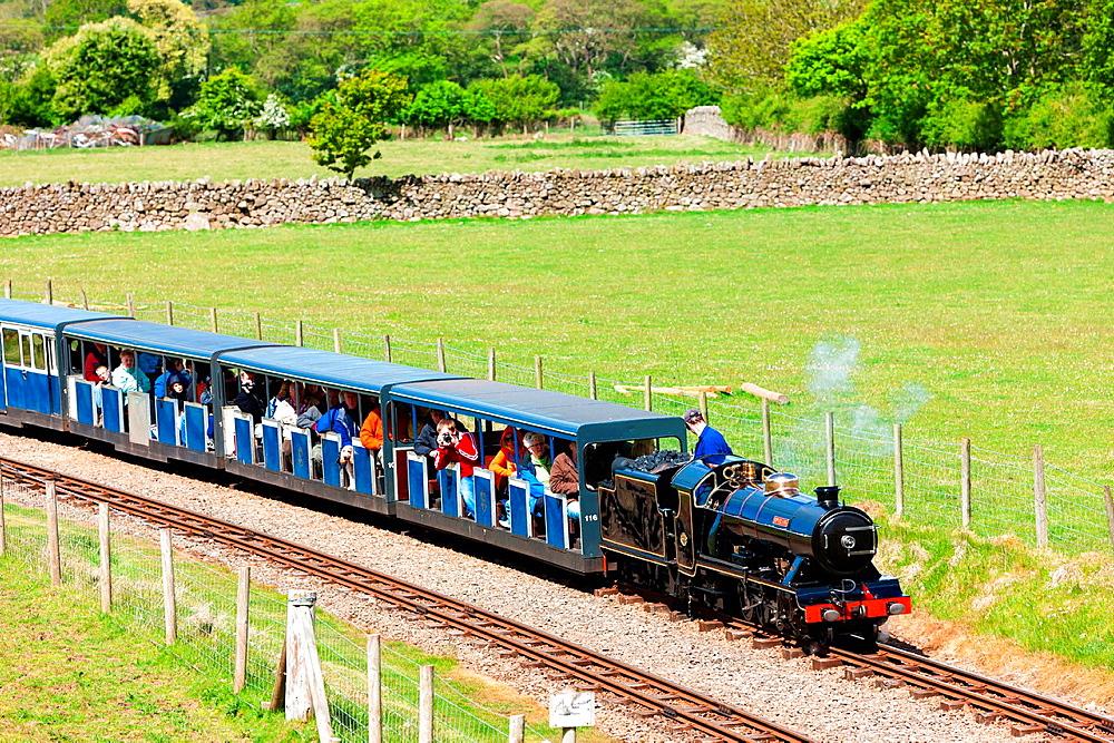 steam train, Ravenglass and Eskdale narrow gauge railway, Cumbria, England.