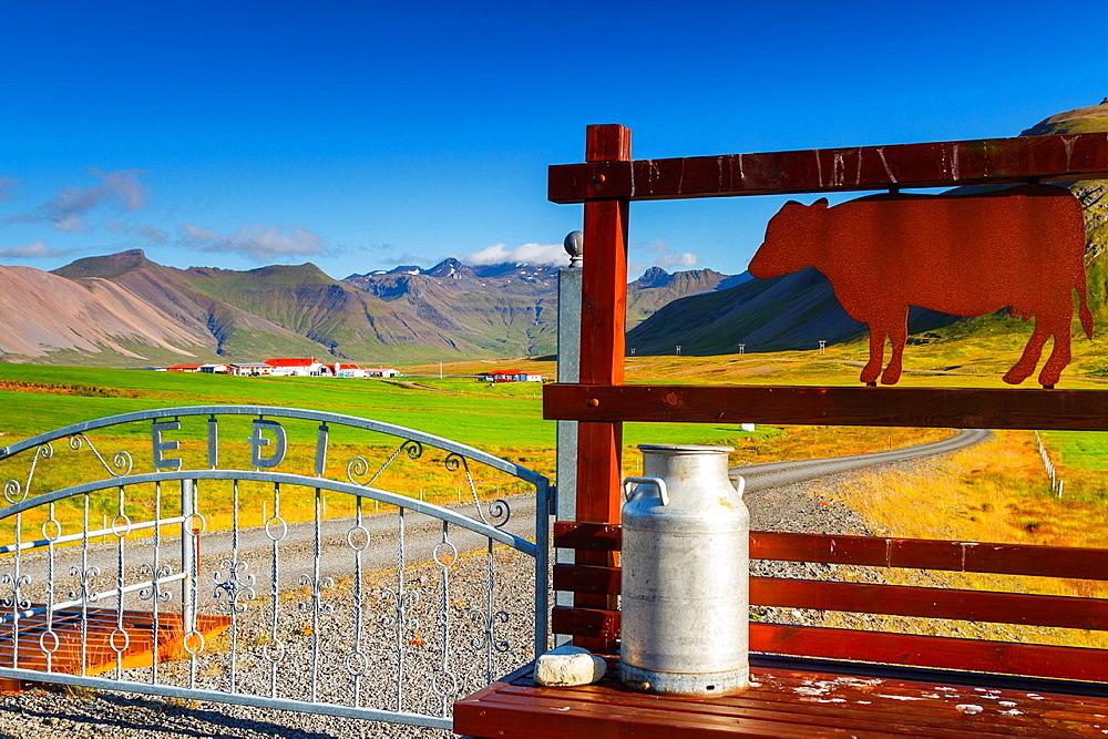 Dairy farm. Grundarfjordur village. Snafellsnes peninsula. Iceland, Europe.
