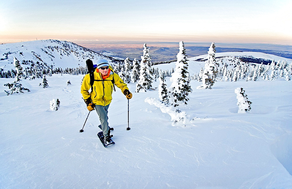 Elijah Weber snowshoeing on Mount Harrison high in the Albion Mountains above the city of Albion in southern Idaho.
