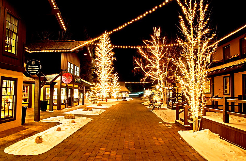 Sun Valley, Sun Valley Village with Christmas lights in the cities of Sun Valley and Ketchum in central Idaho.