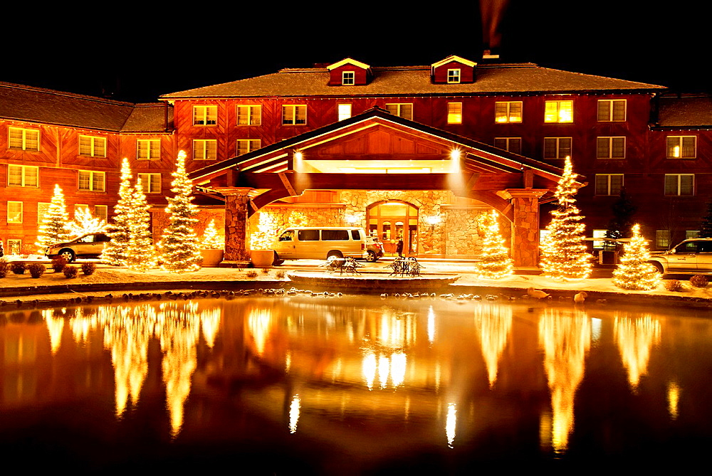 Sun Valley, Sun Valley Lodge with Christmas lights in the cities of Sun Valley and Ketchum in central Idaho.