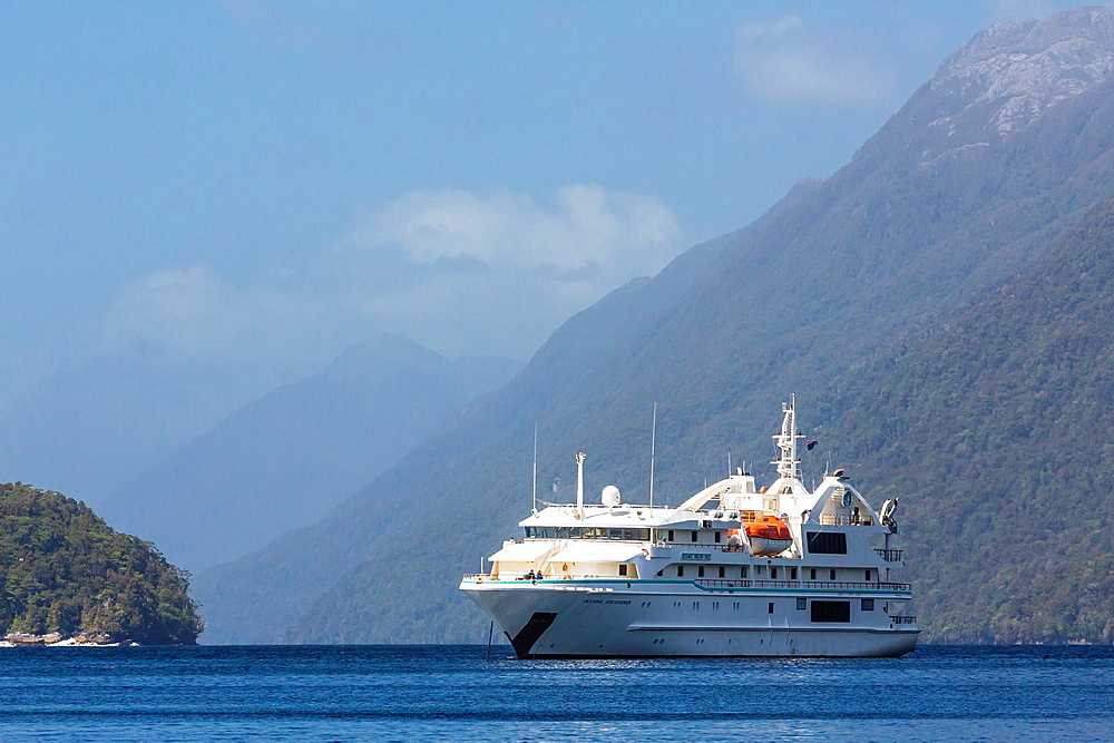 The Expedition ship Oceanic Discoverer anchored in Dusky Sound, South Island, New Zealand.