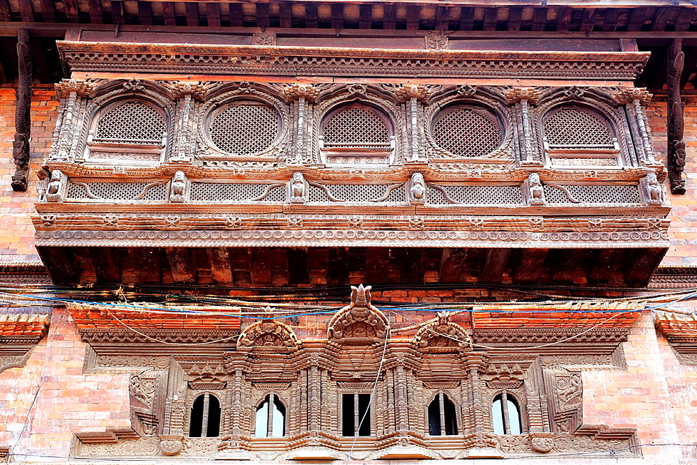 Old house with wood carving, Dattatreya Square, Bhaktapur, Nepal.