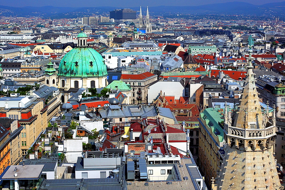 Cityscape from tower of St. Stephen's Cathedral (Stefansdom), Vienna, Austria.