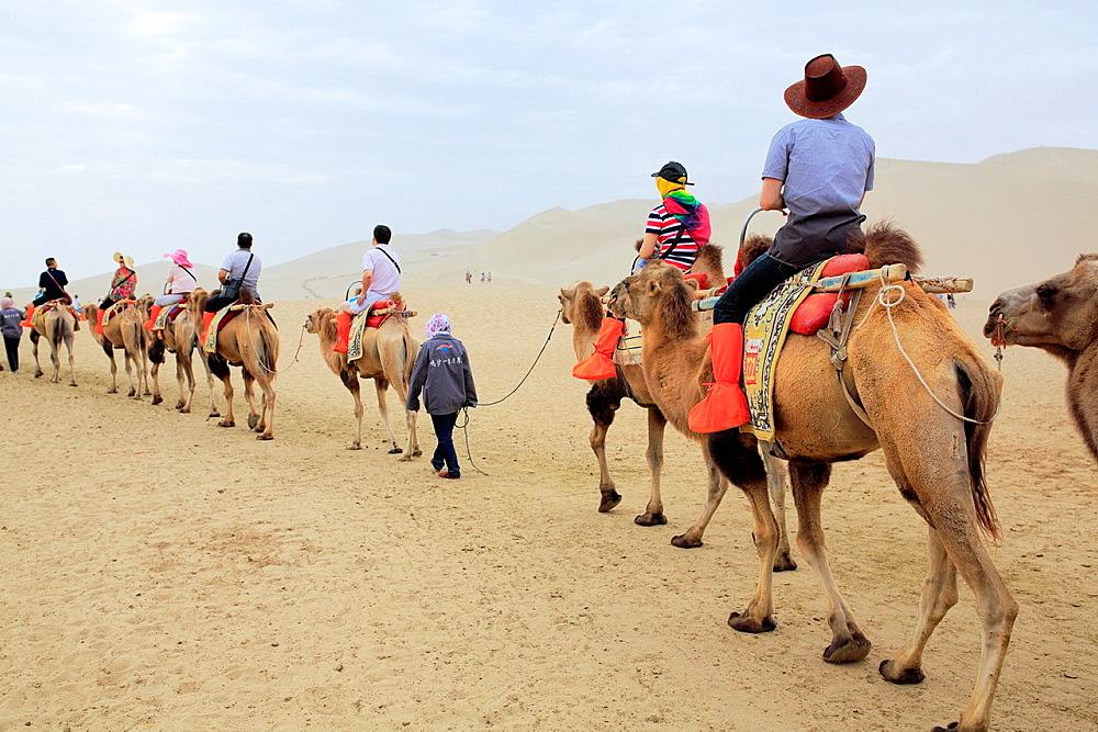 Camels riding near Crescent Lake, Dunhuang, Gansu province, China.