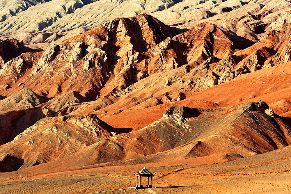Flaming Mountains, Bezeklik Caves, Xinjiang Uyghur Autonomous Region, China.