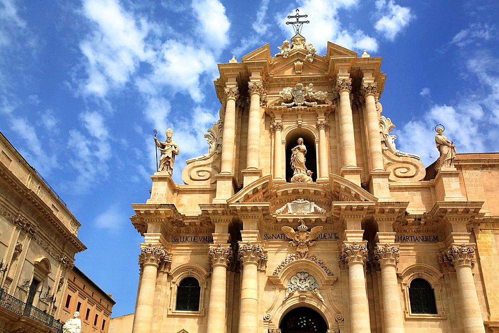 Facade of Cathedral, Ortygia, Syracuse, Sicily, Italy.