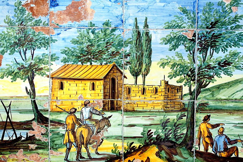 Majolica Cloister (1742) of Santa Chiara church, Naples, Campania, Italy.