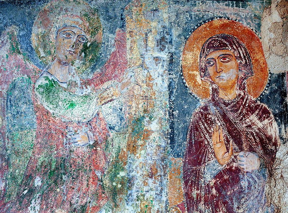 Fresco of the cave church San Giovanni di Monteroni, Sassi di Matera, Basilicata, Italy.