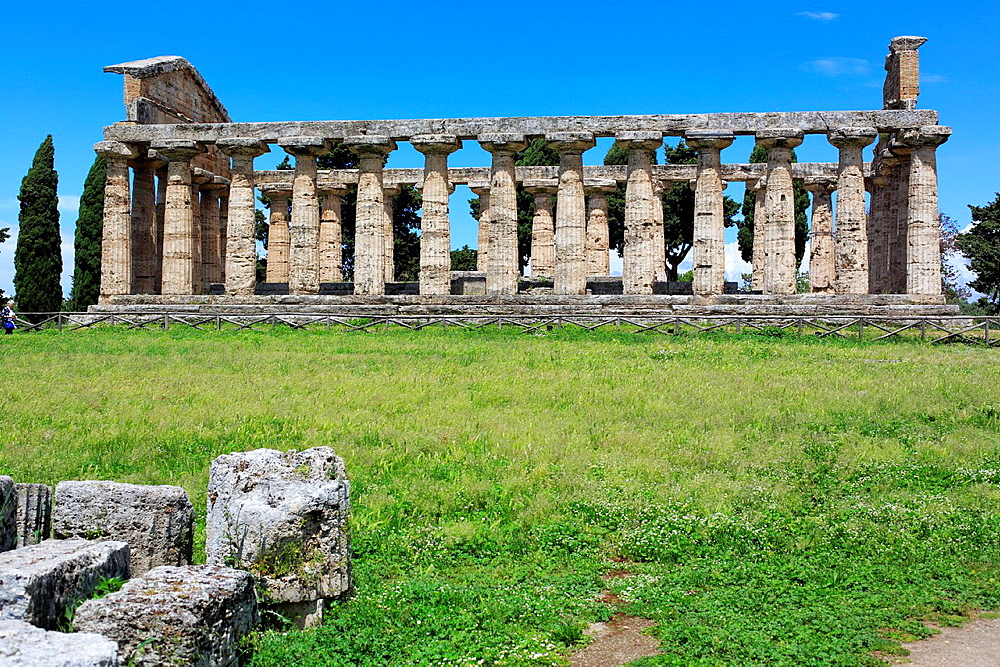 Temple of Athena (500 BC), Paestum, Campania, Italy.