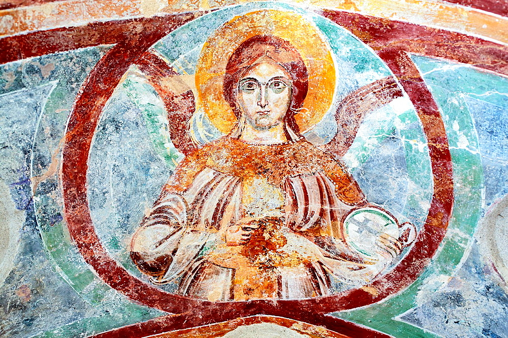 Angel, fresco in cloister of cathedral, Amalfi, Campania, Italy.