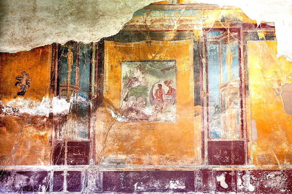 Antique mural painting, House of the Tragic Poet, Pompeii, Campania, Italy.