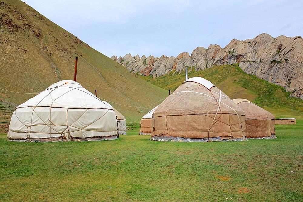 Yurt (Nomads tent) in Tash Rabat valley, Naryn oblast, Kyrgyzstan.
