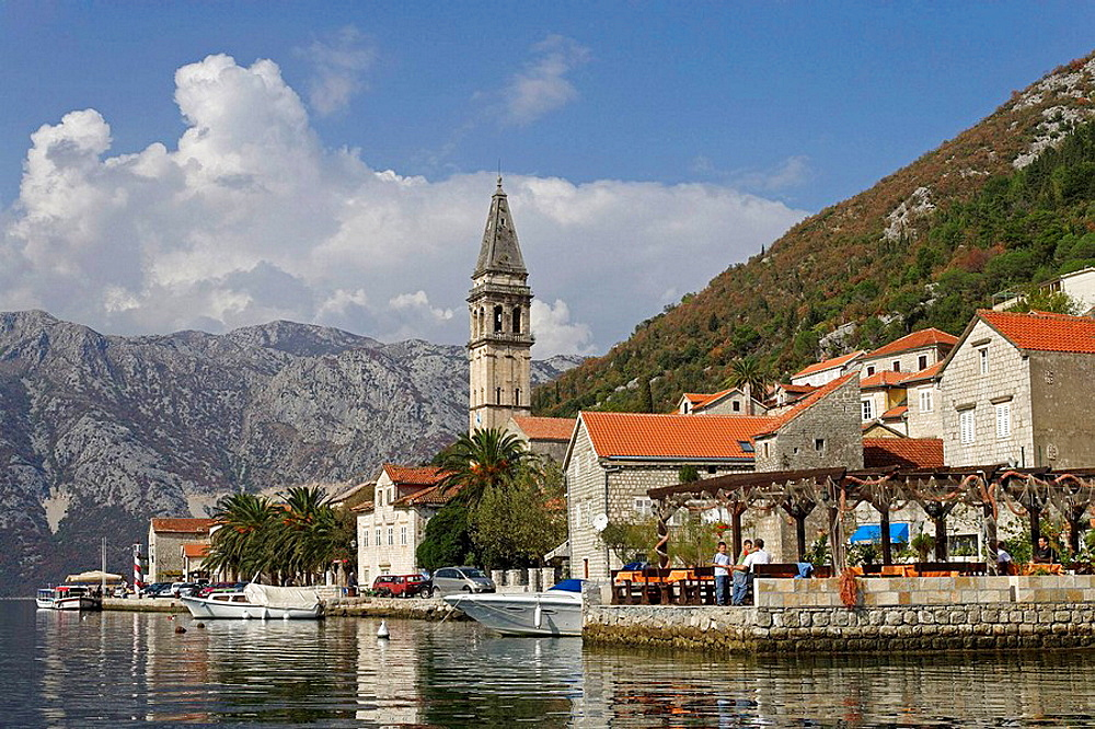 Perast,old town,St Nicholas Church,Kotor Bay,Montenegro