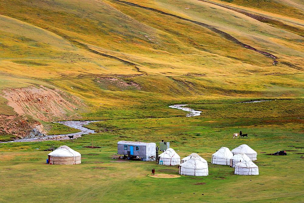Yurt in Tash Rabat valley, Naryn oblast, Kyrgyzstan.