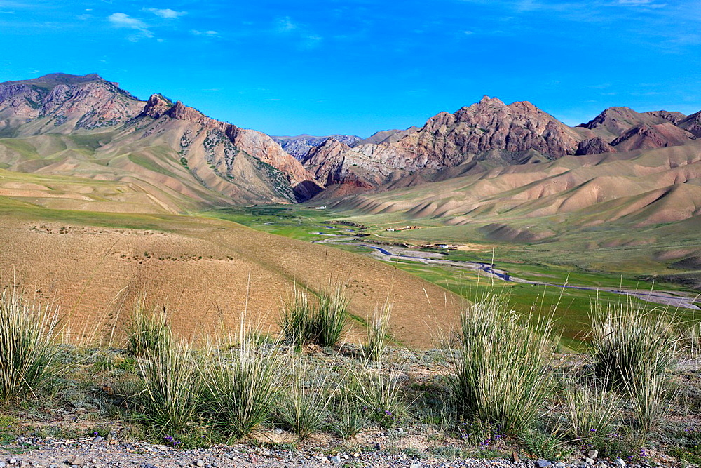 Road to Song Kol lake, Naryn oblast, Kyrgyzstan.