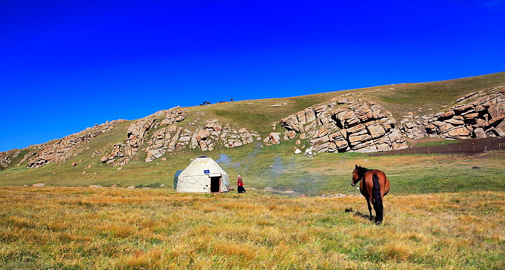 Nomads dwelling, Road to Song Kol lake, Naryn oblast, Kyrgyzstan.