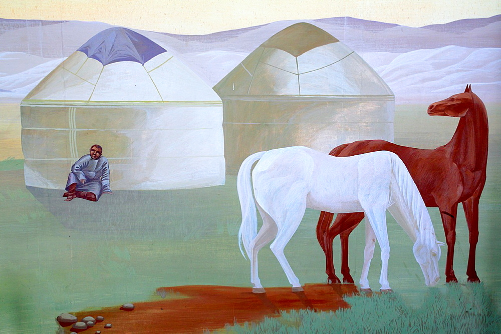 Horses in steppe, mural painting, museum of Nikolay Przhevalsky in Karakol, Issyk Kul oblast, Kyrgyzstan.