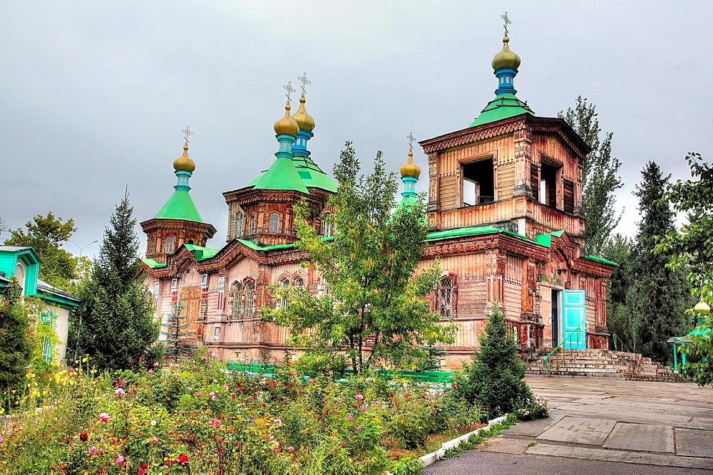 Russian Orthodox Holy Trinity Cathedral (1895), Karakol, Issyk Kul oblast, Kyrgyzstan.