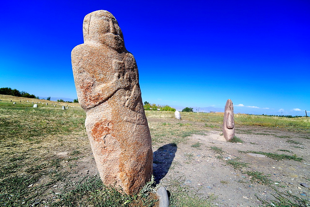 Balbals, ancient Turkic sculptures (6th-10th century), near Burana tower, Chuy oblast, Kyrgyzstan.
