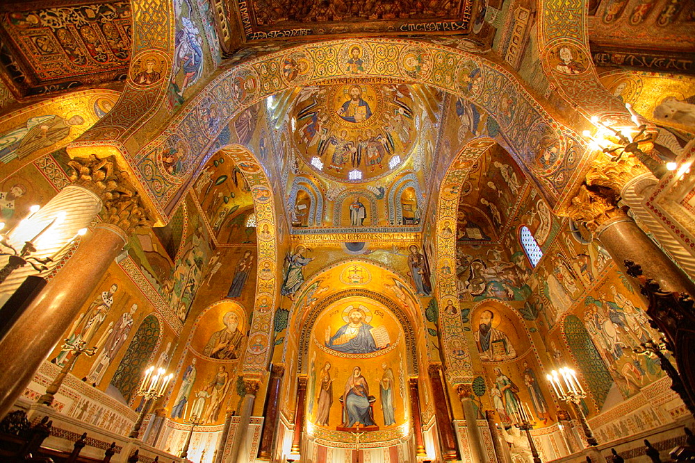 Byzantine mosaics in the Palatine Chapel in the Norman Kings Palace, Palermo, Sicily, Italy.