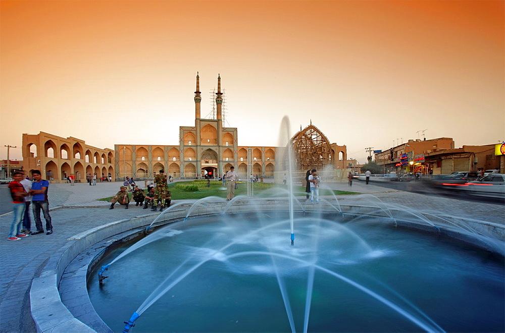 Amir Chakhmaq complex at dusk, Yazd, Iran.