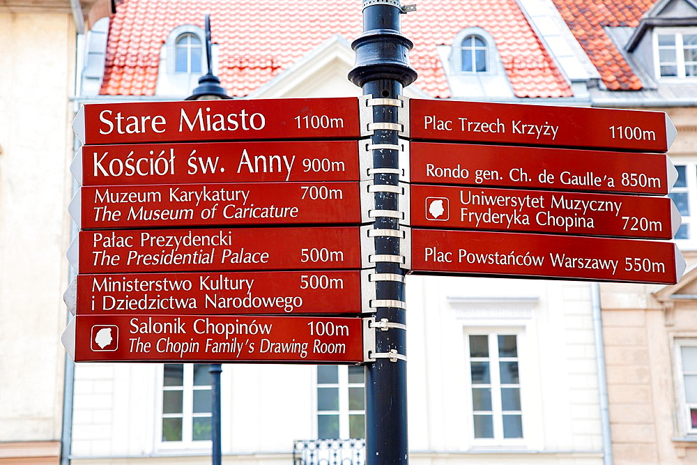 Signpost in Warsaw City Centre, Poland, Europe.