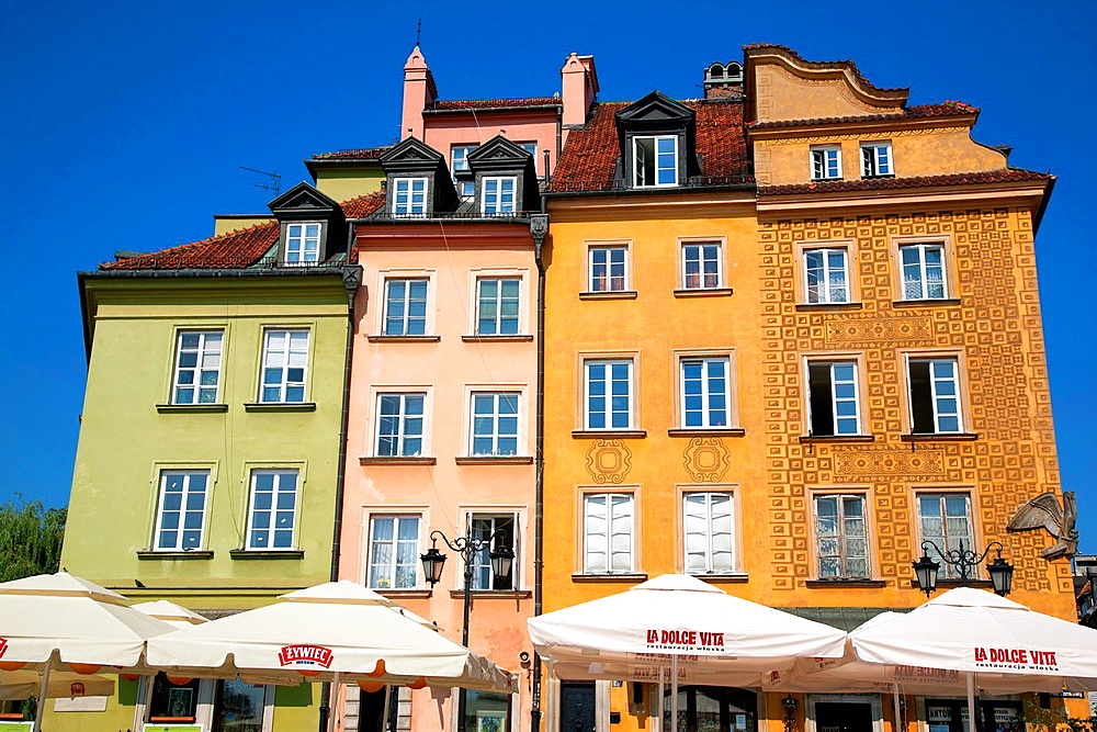 Buildings on Plac Zamkowy, Castle Square, Warsaw, Poland.